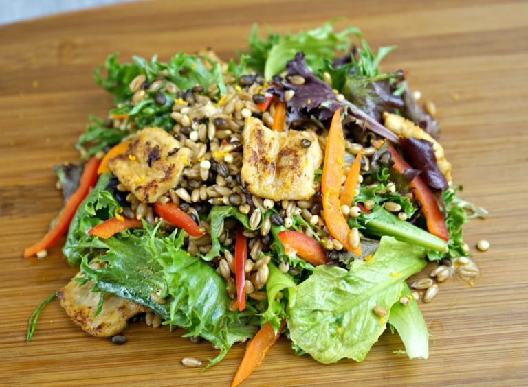 Grain Salad with Miso-Orange Marinated Nuckhen
