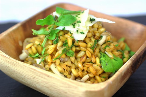 Grano Risotto with Cremini Mushrooms and Watercress