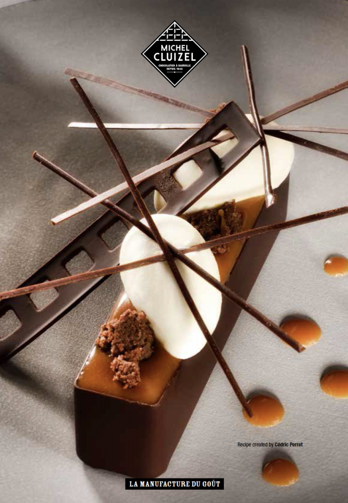 Intricate and elegant chocolate and caramel dessert