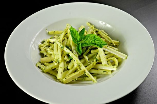 "Hearts of Palm ""Pasta"" with Two Pestos"