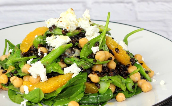 Orange, Black Barley and Spinach Salad