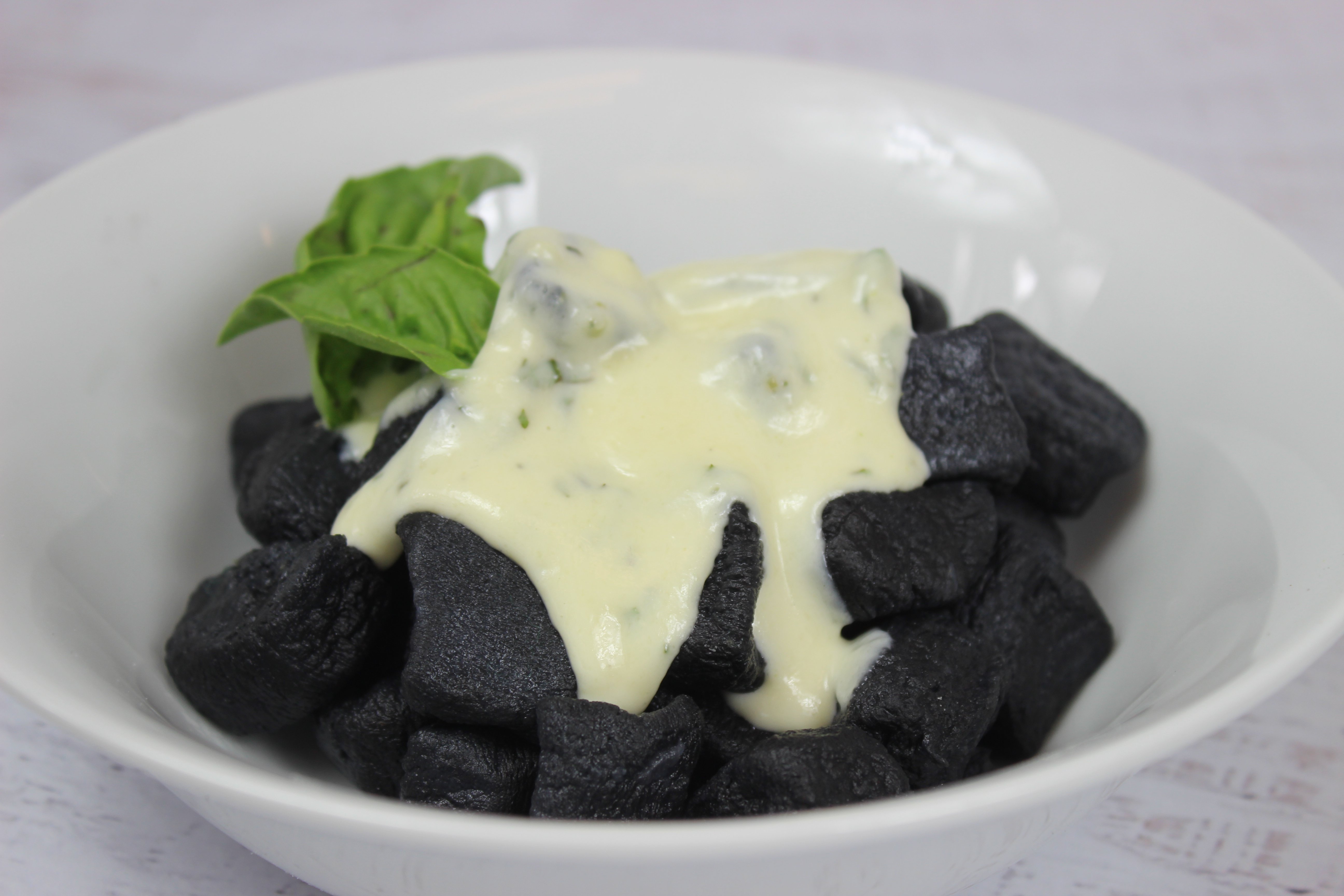 Charcoal Gnocchi in a Parmesan Cream Sauce