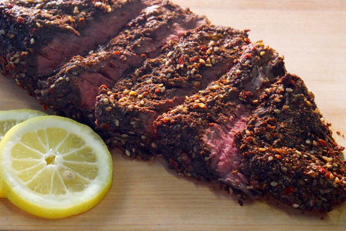 Zahtar and Sumac Crusted Flank Steak