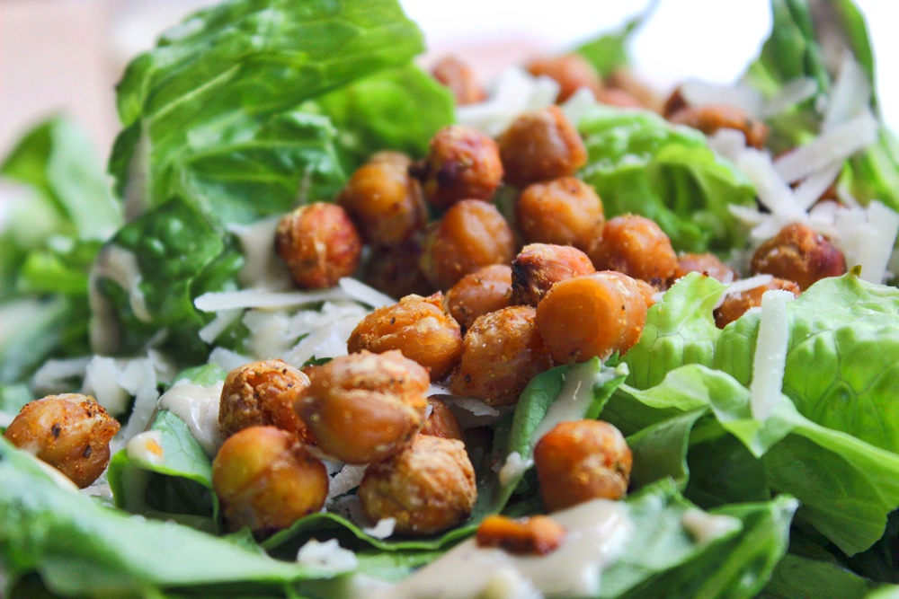 chickpea croutons on their bed of parmesaned salad