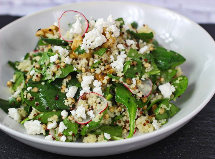 Walnut Couscous and Sorghum Spinach Salad