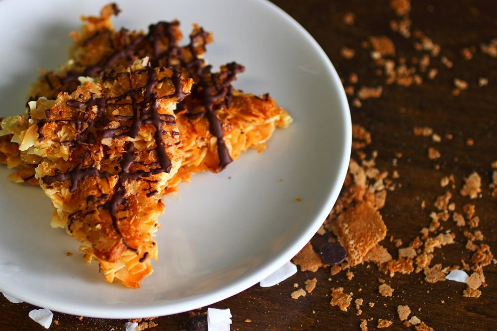pie like slices of almond and coconut crisps