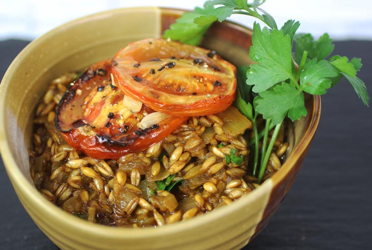 Curry Spiced Caramelized Onion & Roasted Tomato Farro Risotto