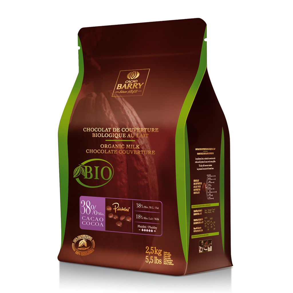 Milk Choc Couverture Organic 2.5 kg Cacao Barry