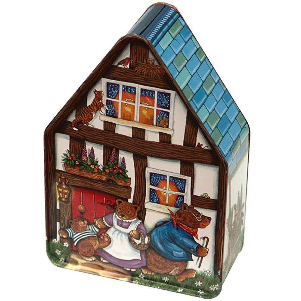Pointy House Goldilocks Empty , 1 tin Silver Crane