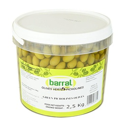 [121837] Picholine Green Olives 2.5 kg Barral