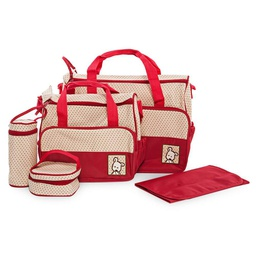 [KNU-8025] Diaper Bag 5pcs Set Red 1 pc Inknu
