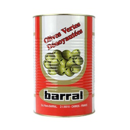 [122032] Olive Manzanilla Green Pitted Tin 4.25 L Barral