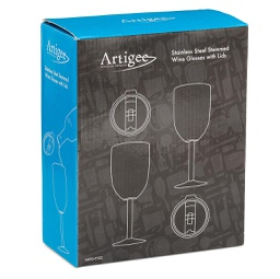 [ARTG-7102] Wine Cup Double Wall w/Lid 2 Pc 1 pc Artigee