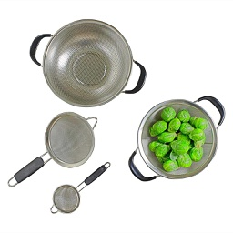 [ARTG-6003] Steel Colander & Strainer Set 4 Pc 1 pc Artigee